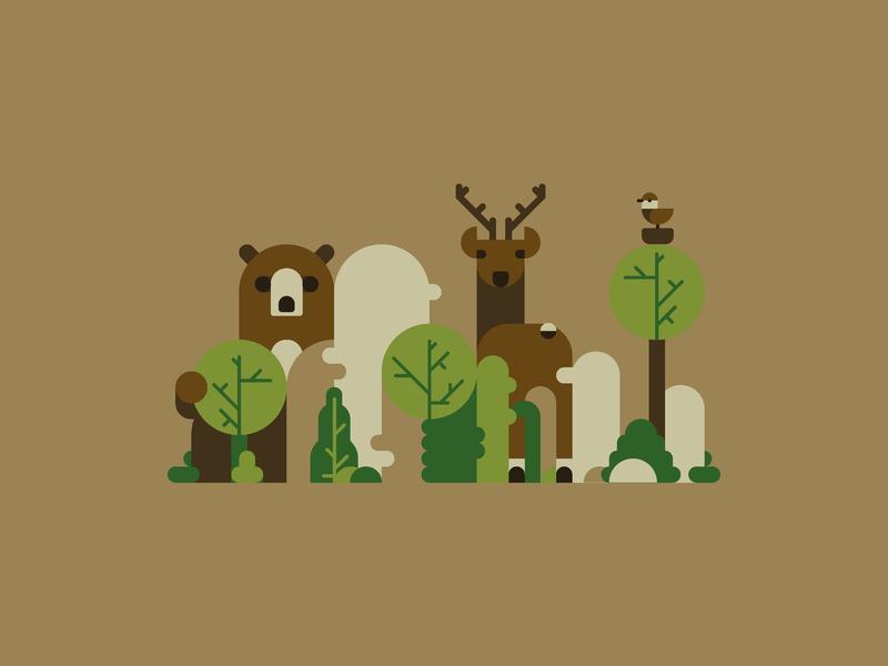 Forest squad tree forest bird bear mountains deer animal czech nature ui minimal vector illustrator illustration flat design clean