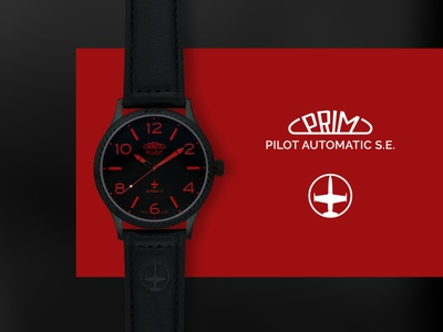 PRIM Pilot Automatic S.E. shadow shades black red webdesign designs plane automatic watch watches poster web flat clean minimal design