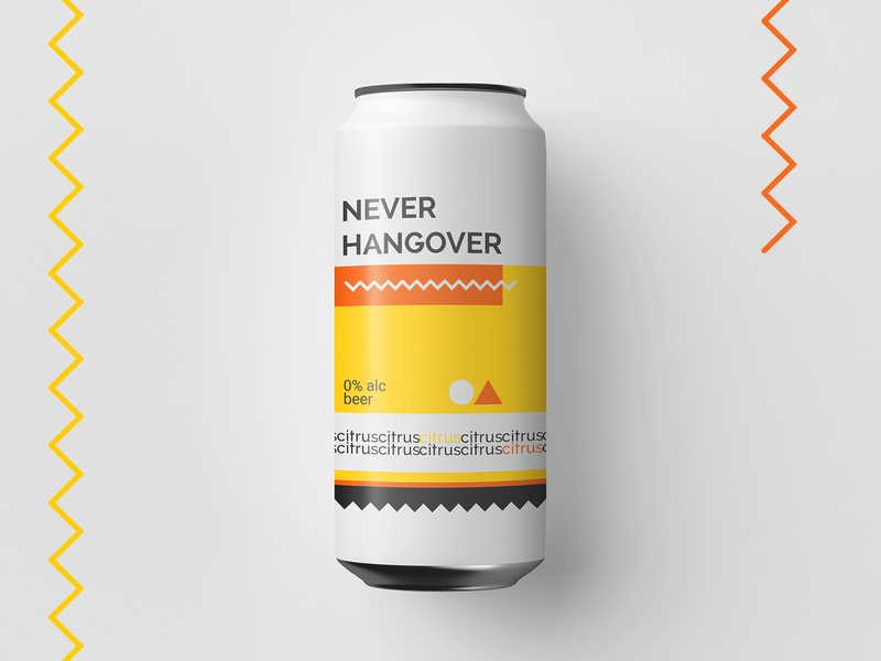 Never Hangover alcohol colors colorfield beer can beer brand illustration vector flat clean minimal design