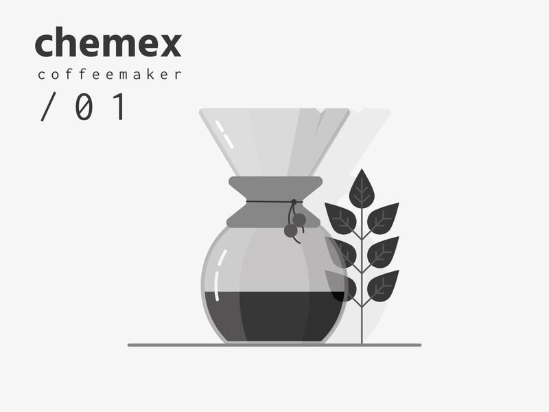 Chemex ilustration. poster coffeeshop chemex coffee typogaphy typo czech web ui illustrator illustration vector flat clean minimal design