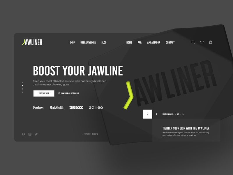 🍋 JAWLINER concept 🍋 shop shopify branding design gum chewing gum webdesign minimalist clean modern 3d modeling 360 futuristic landing lemon happy happylemon jawliner jawline