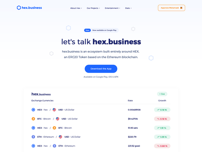 🍋 hex.business Landing Page 🍋 landing page ui logo landingpage currency branding cryptocurrency crypto landing crypto