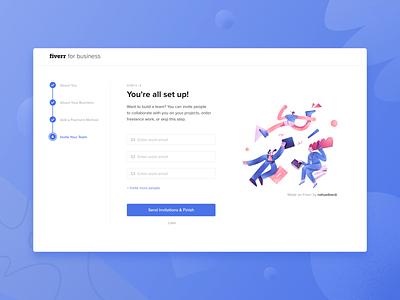 Fiverr for business website web onboarding ux ui design illustration