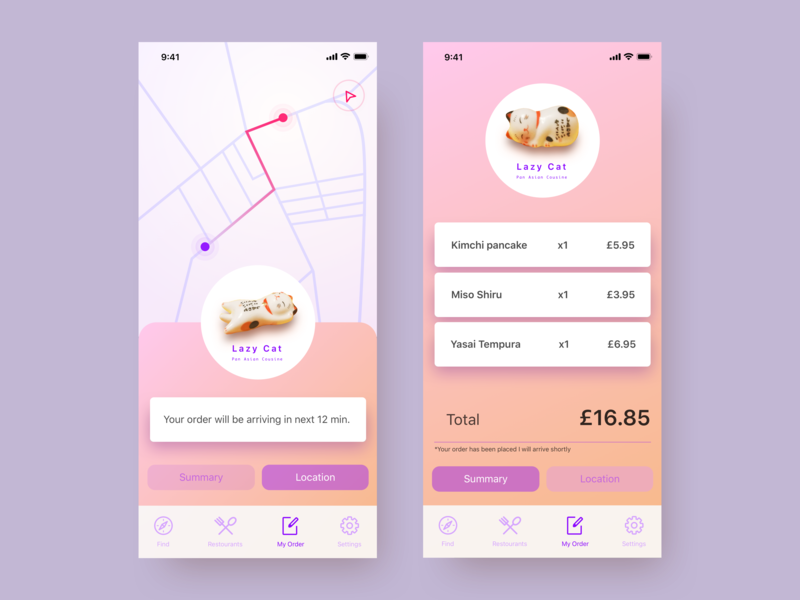 Lazy Cat delivery app delivery menu take out take away application design web vector ux ui mobile app