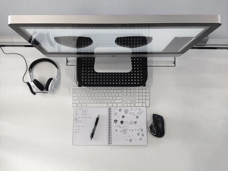 Personal Brand - WIP brand logo sketch setup shield wip zach travis mac zack workspace desk zack travis
