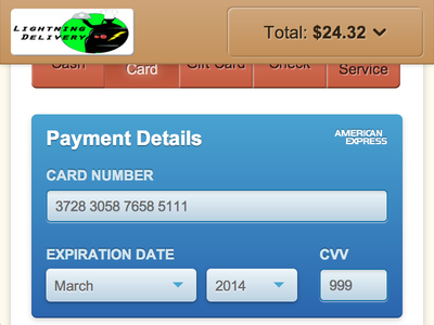 WISDOM Checkout - Payment Type mobile responsive checkout payment web app credit card