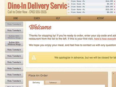 WISDOM - Default Theme Redesign buttons navigation web design texture paper shadows gradients delivery restaurant