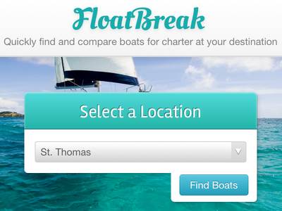 FloatBreak.com web app web design home page background photo boating sailing