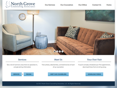 North Grove Counseling Associates website web design wordpress responsive blurred background modern slideshow counseling