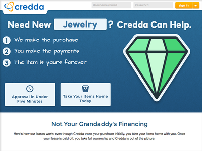 Credda - Homepage landing page animation sign in sign-in financing home page responsive