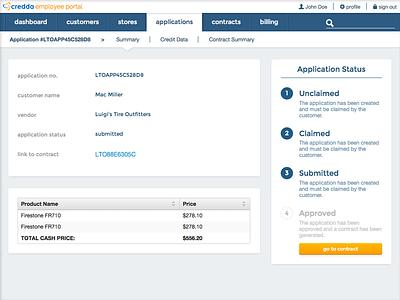 Credda Employee Interface dashboard admin tabs navigation tables progress