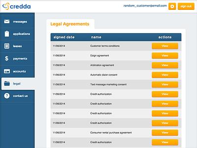 Credda Customer Interface dashboard tables vertical navigation sidebar navigation navigation icons