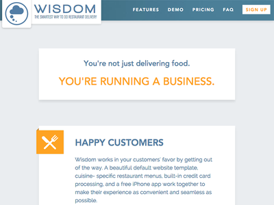 Wisdom Restaurant Delivery Software flat landing page home page fixed navigation