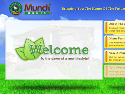 Landing Page - Mundi Homes ui interface website depth web design home page