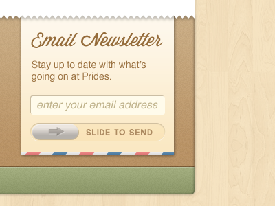 Prides Deli - Email Signup email subscription newsletter depth slide touch footer wood texture