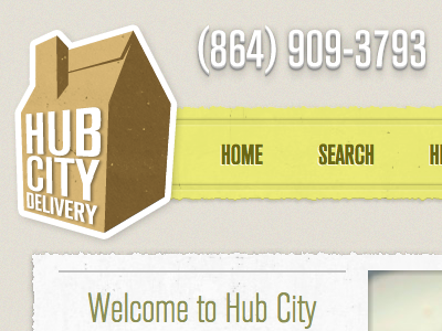 HubCityDelivery.com Redesign website shadow paper texture 3d home page