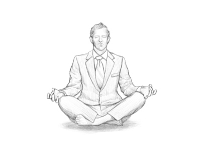 bussinesman yoga illustration digital illustration digitalart brush adobe photoshop wacom intuos businessman suit yoga meditation