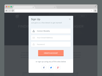 Sign Up Modal ui flat minimal clean widget sign up design