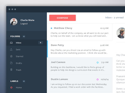 Mail App Design ui clean web app web app flat web design sidebar ux mail user interface