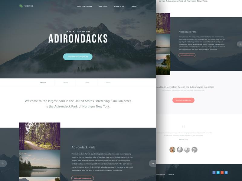 Adirondacks ui flat clean web design user interface landing page simple