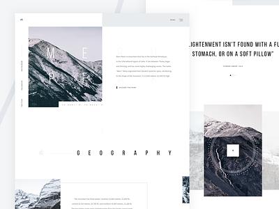 Meru Peak LP web layout design video mountains minimal ux ui landing white landing page clean