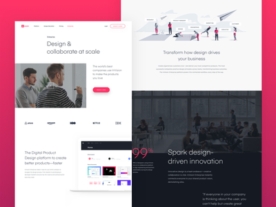Upgrading the InVision Enterprise page ui illustration web clean layout prototyping enterprise landing page invision