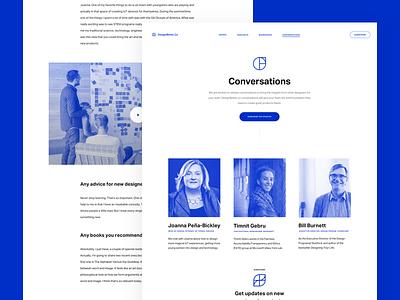 Introducing Conversations on DesignBetter.Co layout ux ui invision designbetter clean landing page website