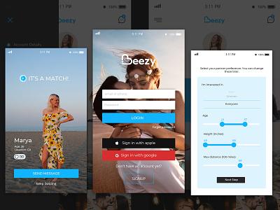 Beezy Dating App dating app ui design app design