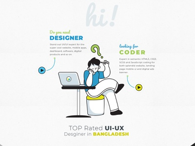 Personal info design illustration landing page psd design