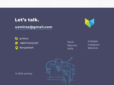 Personal info Footer design illustration psd design