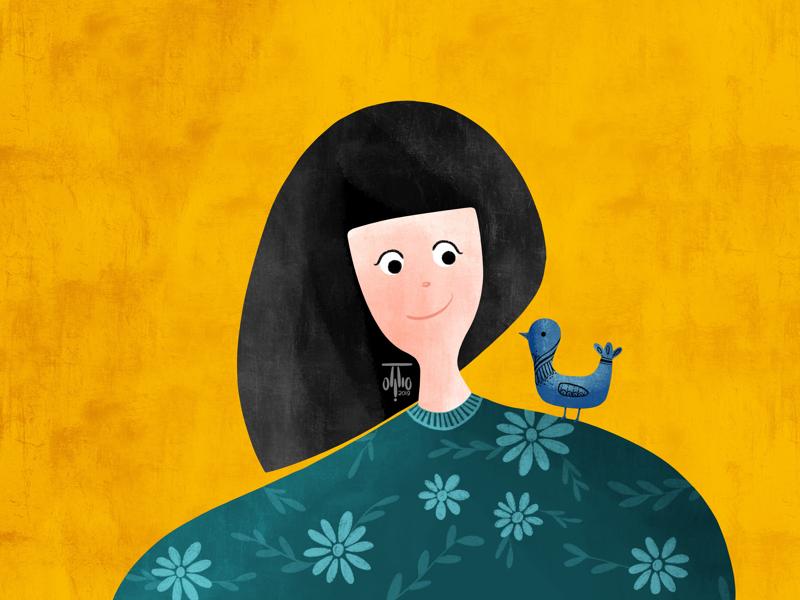 Happy Girl smile happy yellow flower floral bird portrait girl