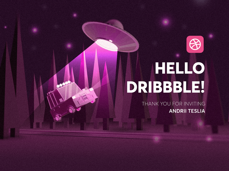 Hello Dribbble! hello dribbble i want to believe aliens ufo cinema 4d logo web vector illustration