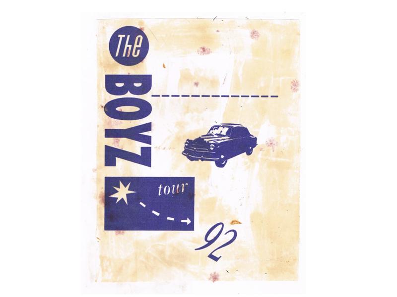 The Boyz Tour - T-shirt single colour limited edition collage design graphic design drawing illustration t-shirt screenprint