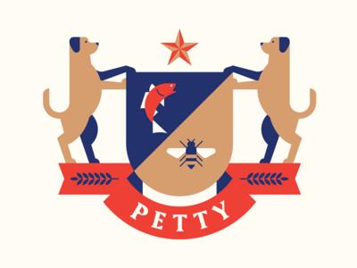 Petty Crest texas barley banner star shield bee fish dog heraldry crest