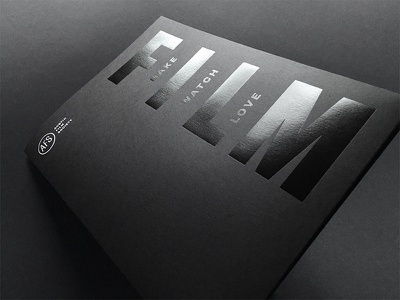 AFS pocket folder and business card dynamic identity austin film business card print foil black on black folder