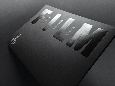 AFS pocket folder and business card dynamic identity austin film business card print foil black on black folder