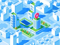 Blue Building Isometric