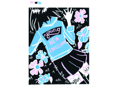 Young New England music handlettering poster print 3 color painting gouache illustration