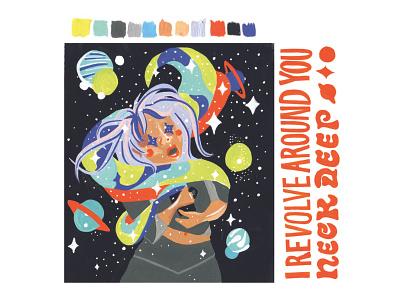Space Coffee apparel design paintings gouache branding fashion design handlettering painting poppunk illustration music