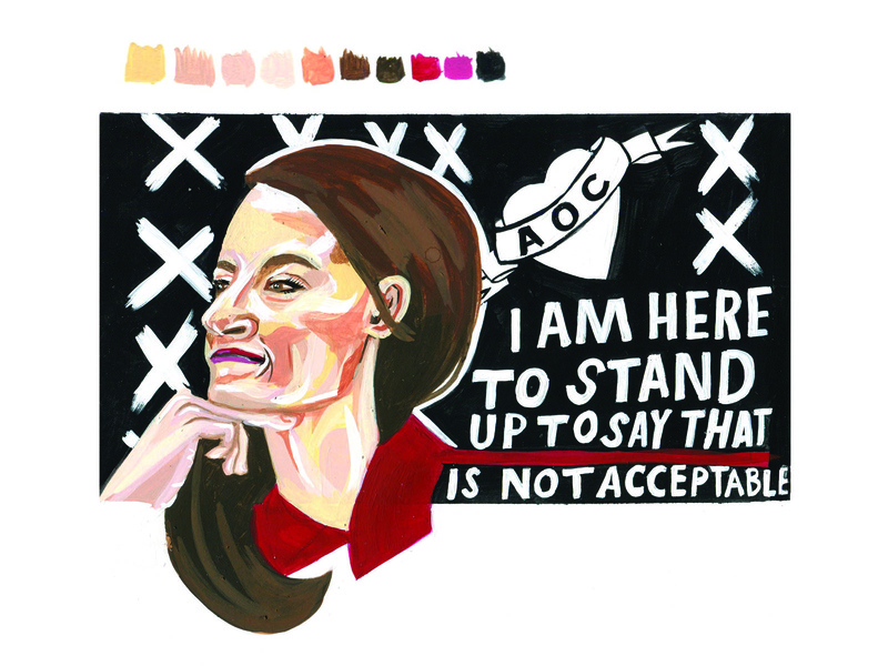 I Heart AOC portrait gouache painting political handlettering design illustration