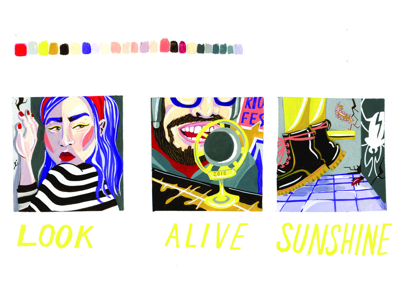 Look Alive Sunshine narrative graphicnovel comic gouache poppunk painting handlettering design music illustration triptych
