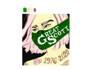 RIP Great Scott portrait poster gouache painting handlettering design music illustration