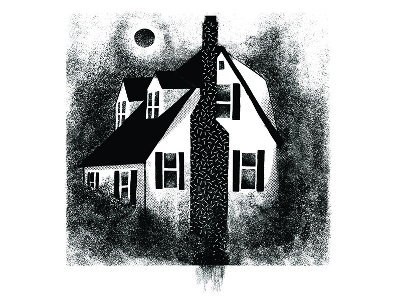 A House With Grit print blackandwhite houses texture grit vector painting design illustration