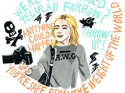 Fan Girl painting gouache poppunk typography handlettering design music illustration
