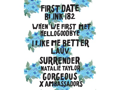 A Playlist of Connection floral illustration vector painting handlettering typography poppunk illustration design music