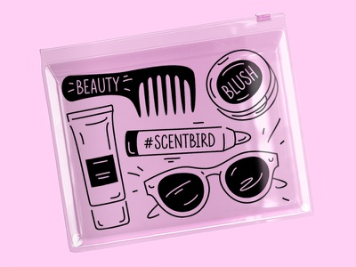 SB cosmetic bag pouch accessories cosmetics cosmetic bag beauty branding fourhands illustration