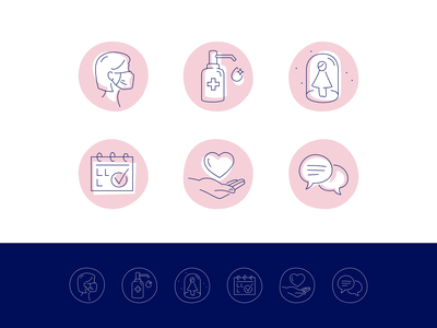 Fika Beauty woman stroke icons icon designer disinfection mask social distance icon design web iconography icon set ui design beauty icons covid-19 coronavirus icons illustration fourhands girl beauty salon