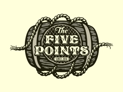 "Rum bar ""The Five Points"" barrel rope pirate rum bar logo mark design"