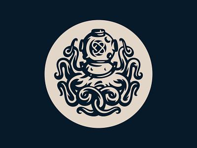 Octopus logo designer diver diving helmet logo graphic design octopus mark badge watch emblem caseback vector fourhands illustration
