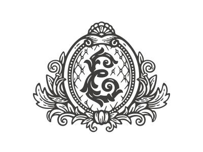 Elizabeth furniture illustration floral ornament crest shield monogram logo e